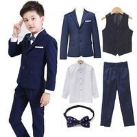 5pcs/set Boys Blazer Suits set (suit+pant+vest+shirt+tie) Kid Boy Wedding Party Suits Blazer Costume Garcon Formal School wears