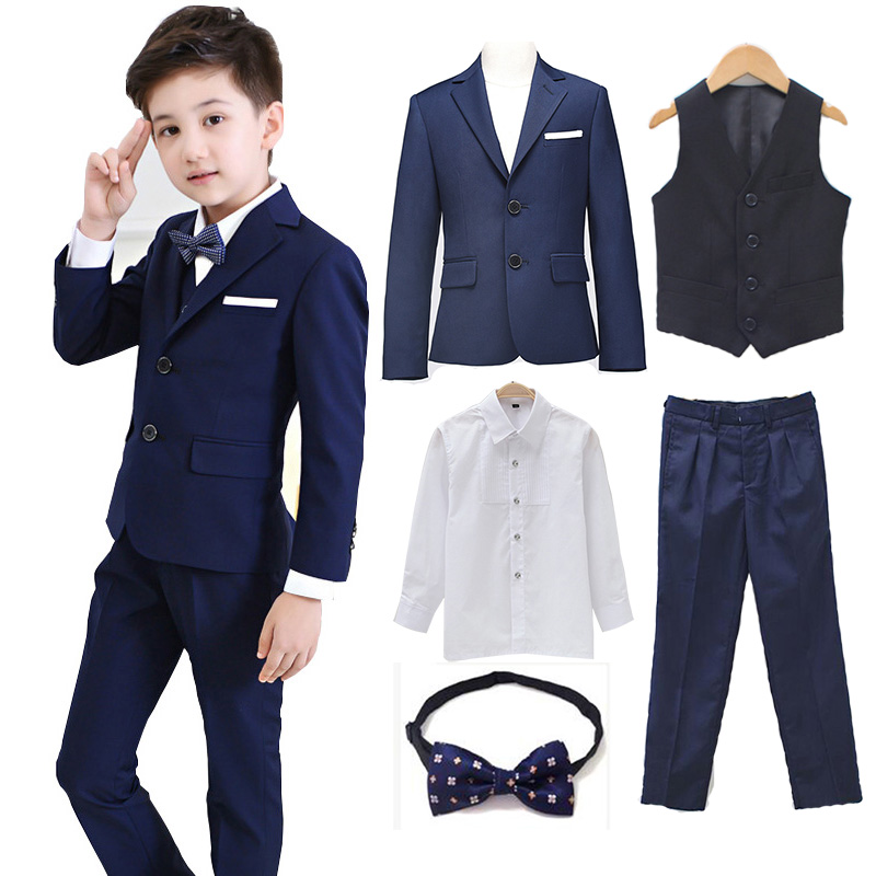 5pcs/set Boys Blazer Suits set (suit+pant+vest+shirt+tie) Kid Boy Wedding Party Suits Blazer Costume Garcon Formal School wears boys clothing set striped vest pant shirt suits formal outfits kids school uniform baby children wedding party boy clothes sets