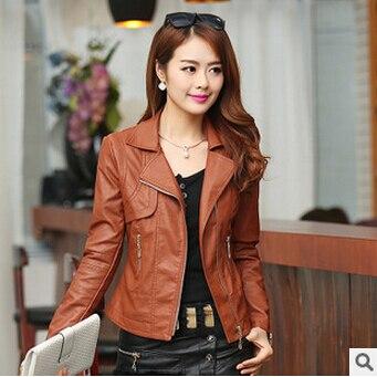 Высокое качество осень зима Pu куртки Новая мода с отворотом женская кожаная куртка размера плюс Jaqueta Couro S-XXXXL пальто A0305 - Цвет: brown