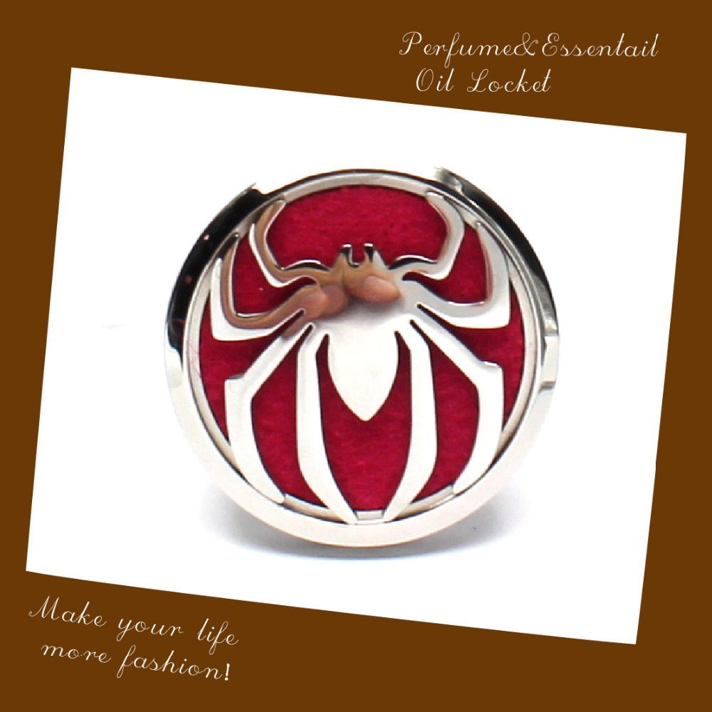 Spider Design 316L Stainless Steel Essential Oil Car Diffuser Locket 38mm Aromatherapy Car Clip Locket Pendant With Felt Pads