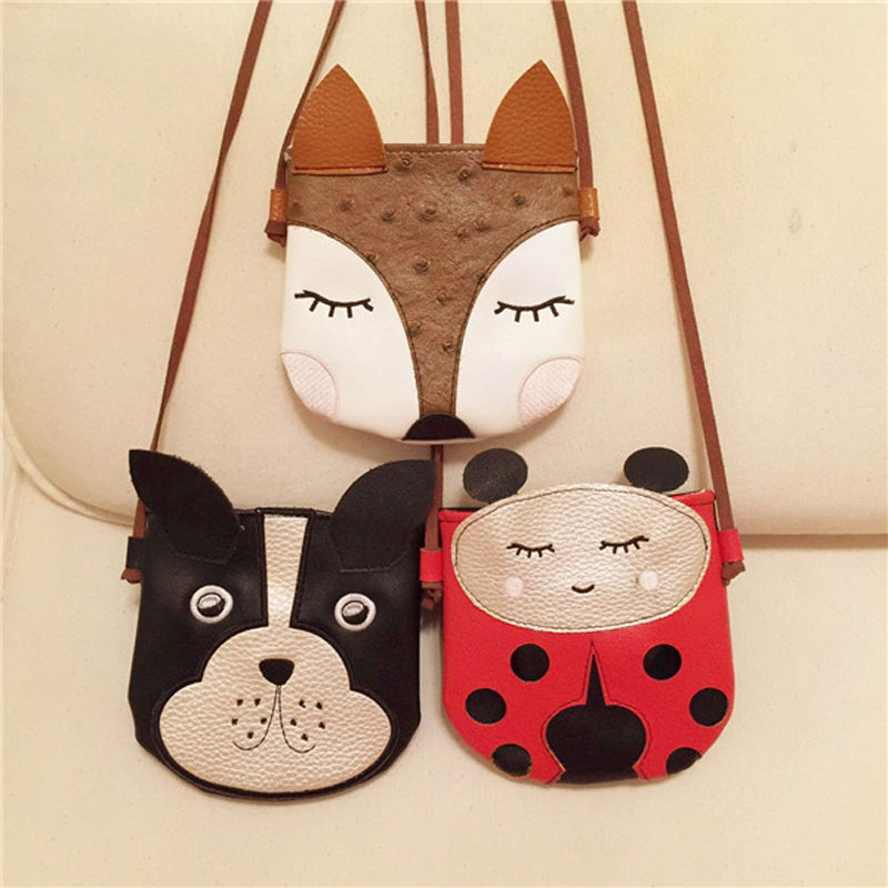 BONAMIE Mini Candy Bag Cute Black Dog Messenger Bag Kids Kawaii Baby Girl Dog Fox Coin Purse Kids Adorable PU Fox Bag
