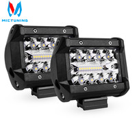 MICTUNING 2PCS 4 inch LED Work Light Bar Triple Row for Driving Offroad Boat Car Tractor Truck 4x4 SUV ATV 12V 24V 60W Tail Lamp