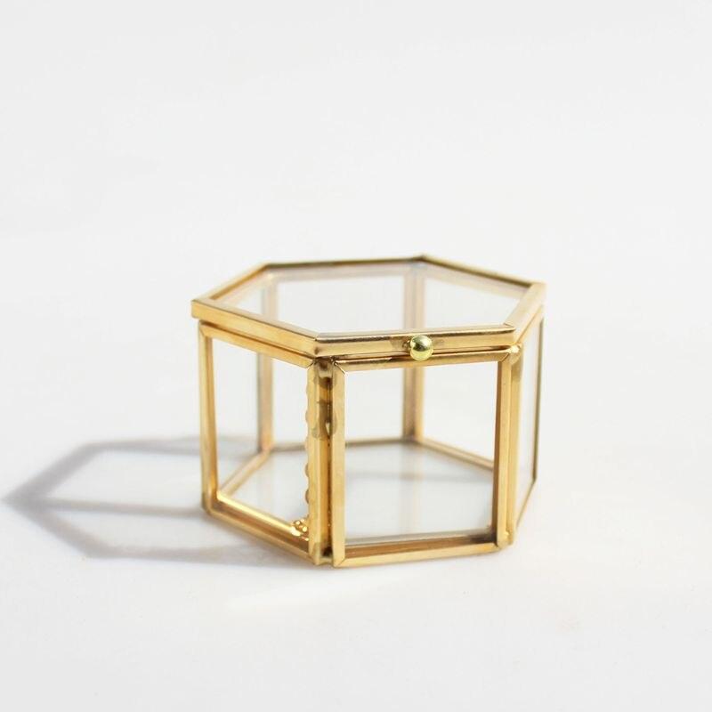 Geométrico claro vidro caixa de jóias jóias organizar titular anel caixa colar pulseiras brincos jóias acessórios de armazenamento