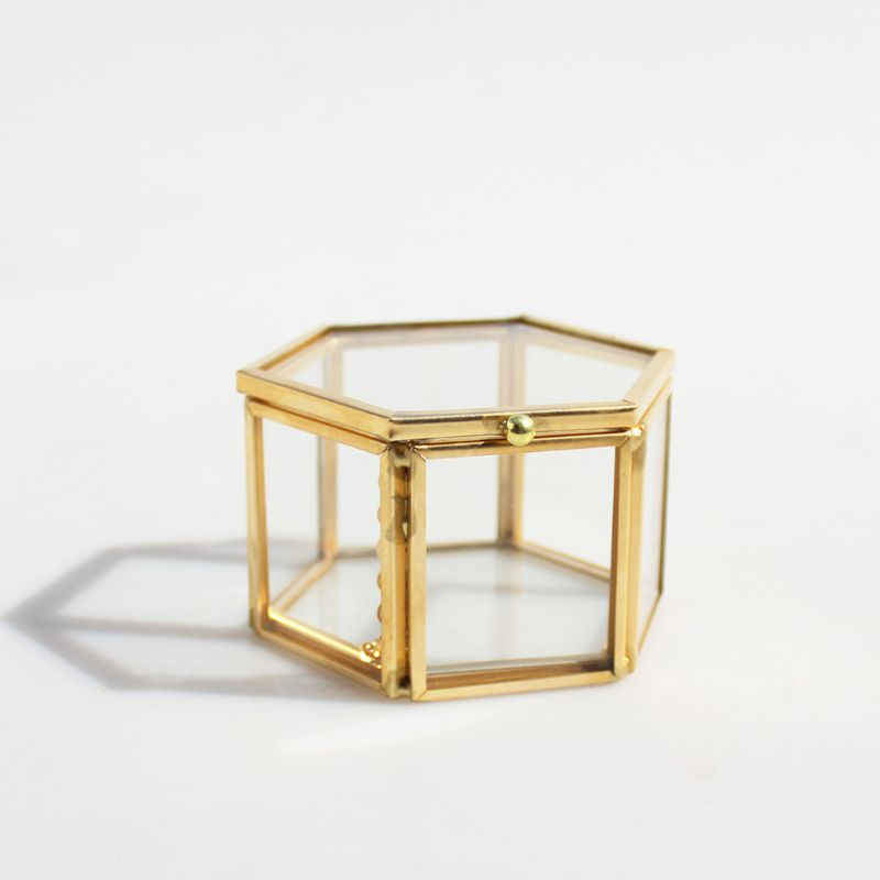 Geometrical Clear Glass Jewelry Box Jewelry Organize Holder Ring Box Necklace Bracelets Earrings Jewelry Storage Accessories