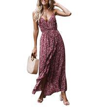 2019 New Yfashion European Elegant Charming Women's Sexy Floral Print Strap Split Casual Dress Maxi Dress Top Quality rabbit print split top