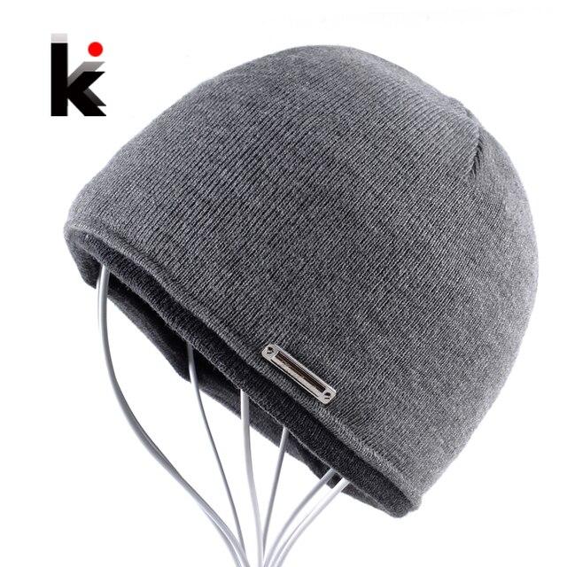 e91252d9c5 2018 Autumn Winter Beanie Hat Plus Thicker Velvet Men Knitted Cap Hip Hop  Skullies Bonnet Beanies Skis Skating Mens Hats For Men