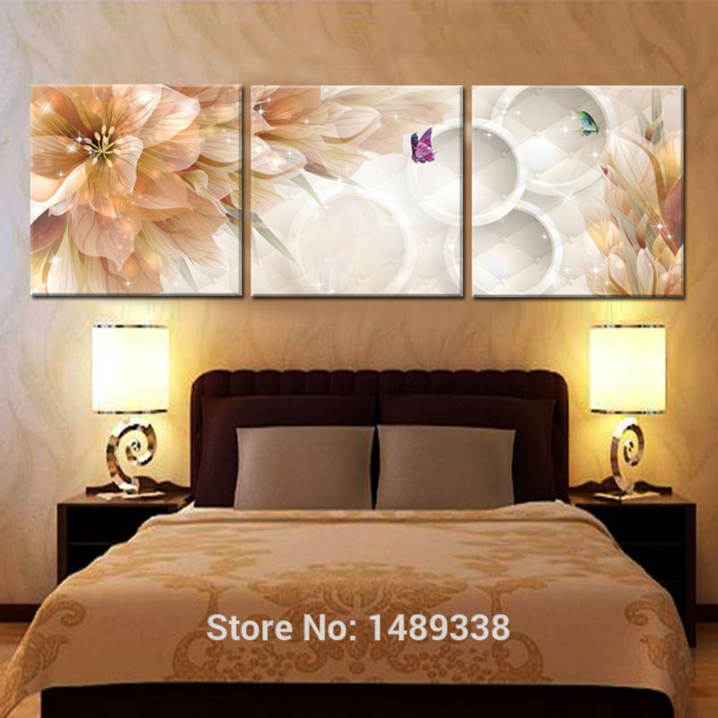3 Panel Flower Home Decoration Living Room Wall Painting HD Wall Art ...