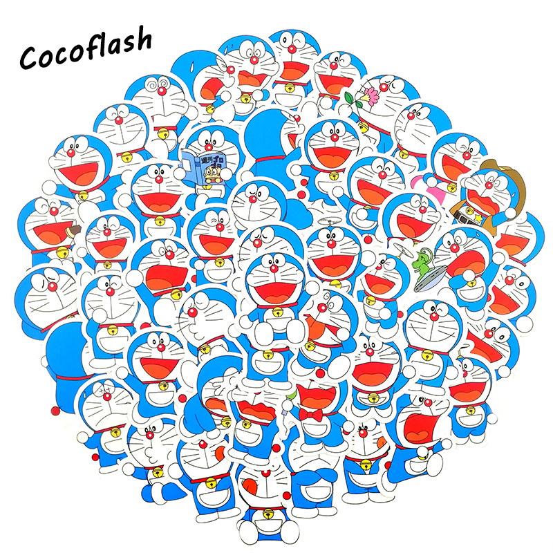 30Pcs/Lot Cartoon Doraemon Anime  Stickers Jingle cats For Laptop Skateboard Luggage Decal Waterproof toy Stickers For kids