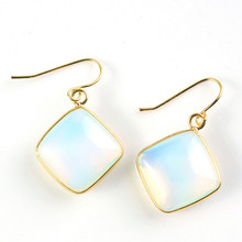 FYJS Unique Light Yellow Gold Color Opalite Opal Square Shape Cabochon Earrings for Anniversary Jewelry