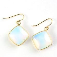 FYJS Unique Light Yellow Gold Color Opalite Opal Square Shape Cabochon Earrings for Anniversary Jewelry недорго, оригинальная цена