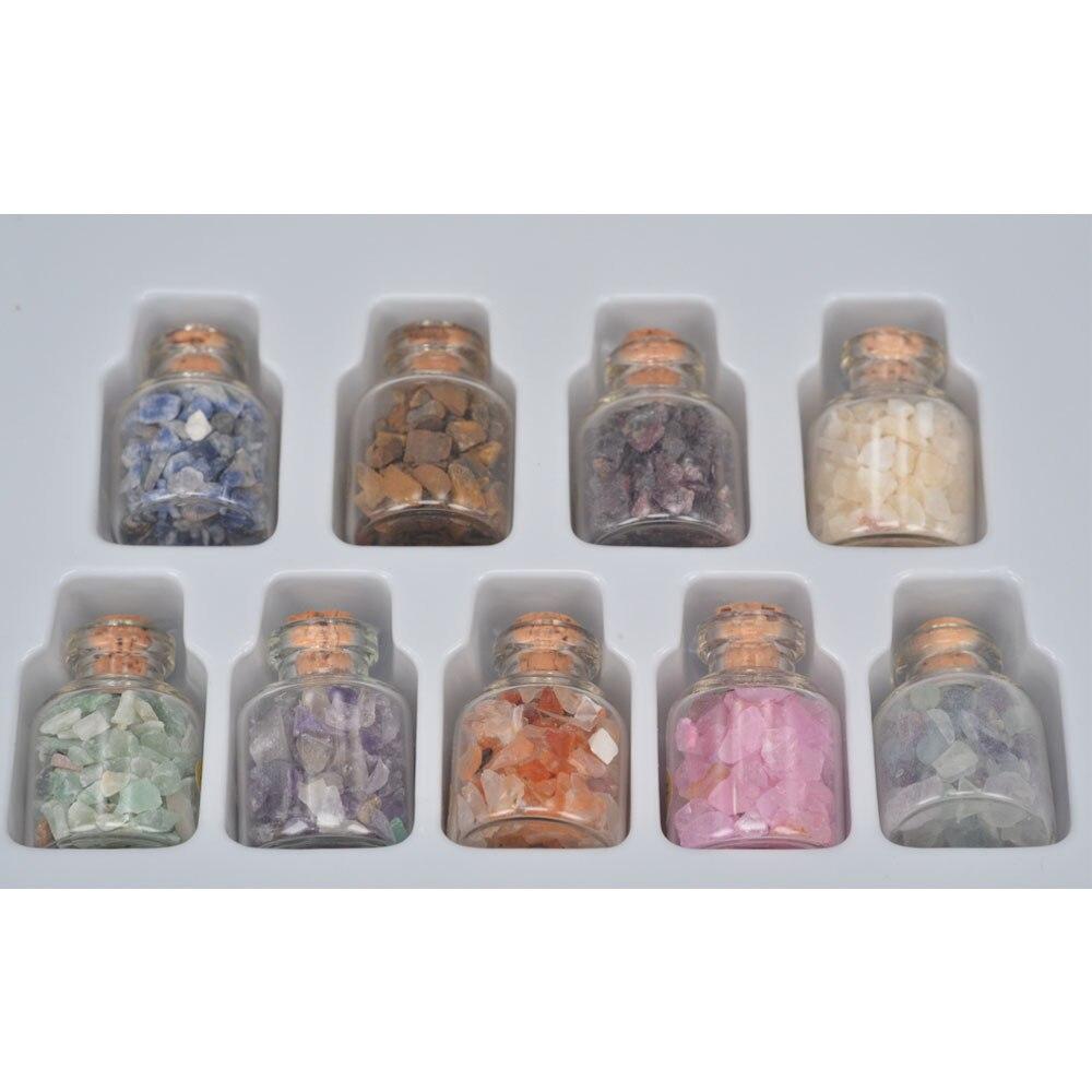 9 Mini Gemstone Bottles Chip Sz Crystal Healing Tumbled Gem Stones Reiki Wicca 1
