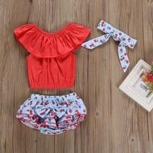 Summer Baby Girl Sleeveless Romper Cherry Print PP Pants with Bowknot Design Headband Costume