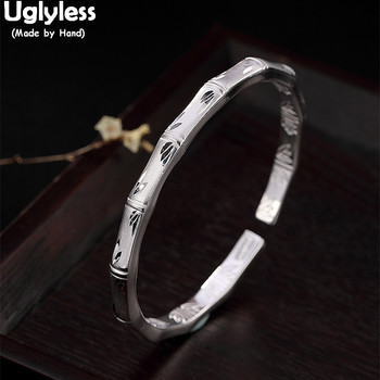 Uglyless 100% Real Solid 999 Fine Silver Panda's Favorite Bamboo Bangles for Women Bamboo Leaves Open Bangle Double-Sided Carved