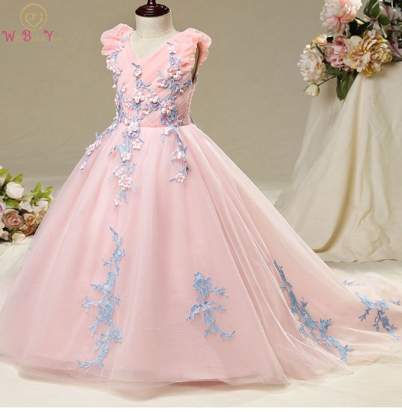 Walk Beside You Lace Appliques Flower Girl Dresses Pink Tulle Blue V-neck Sleeveless Sweep Train Long Primera Comunion Pageant