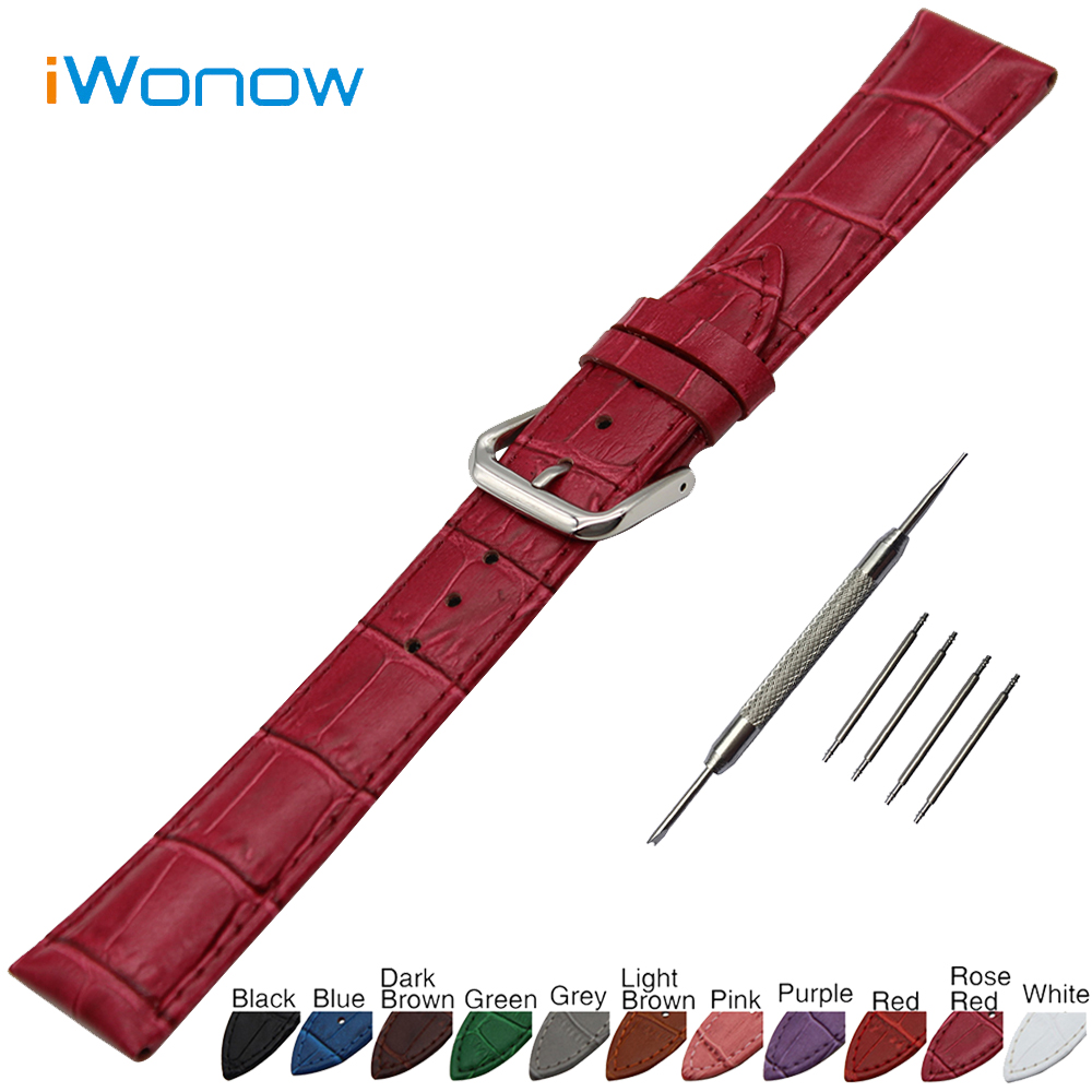 Croco Genuine Leather Watch Band 18mm 19mm 20mm for DW Daniel Wellington Stainless Steel Buckle Strap Wrist Belt Bracelet + Tool