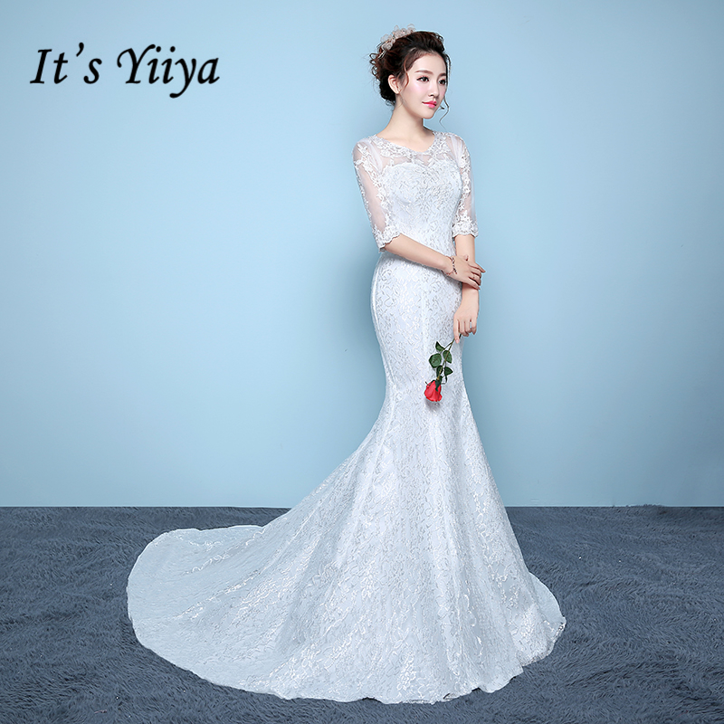 It's YiiYa Off White Wedding Gown Embroidery Flower Pattern Sexy Backless Lace Mermaid Wedding Dresses Mariage Vestido XXN192