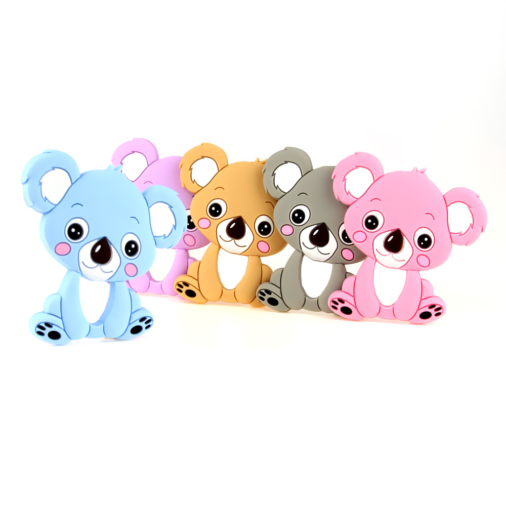 Tyry.hu Koala Silicone Teether Teething Toy Baby Teether Beads Diy Chew Necklace  Nursing Tool Pendant Food Grade Silicone