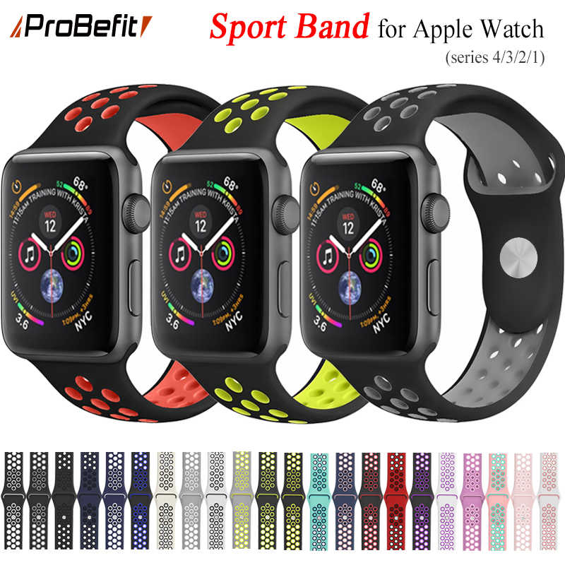 New Breathable Silicone Sports Band for Apple Watch 4 3 2 1 42MM 38MM rubber strap bands for Nike+ Iwatch 4 3 40mm 44mm