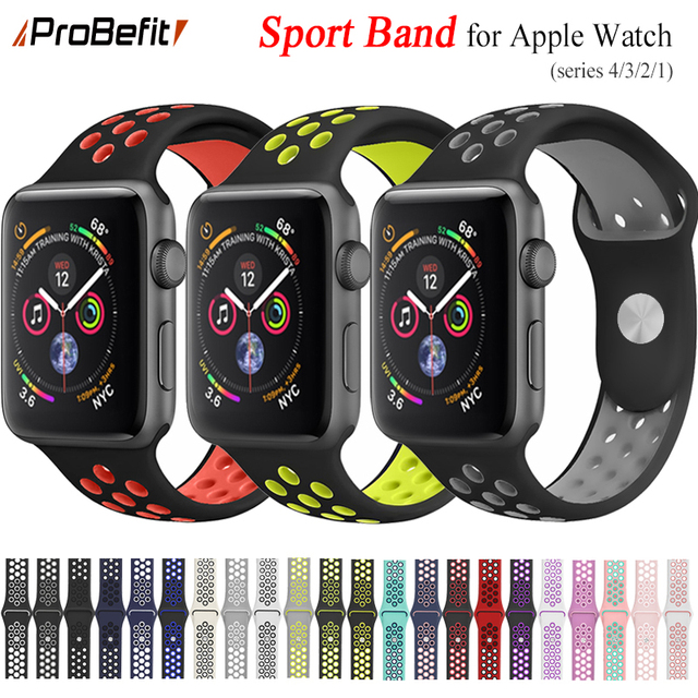 Nueva Banda deportiva de silicona transpirable para Apple Watch 4 3 2 1 42 MM 38 MM bandas de goma para nike + Iwatch 4 3 40mm 44mm