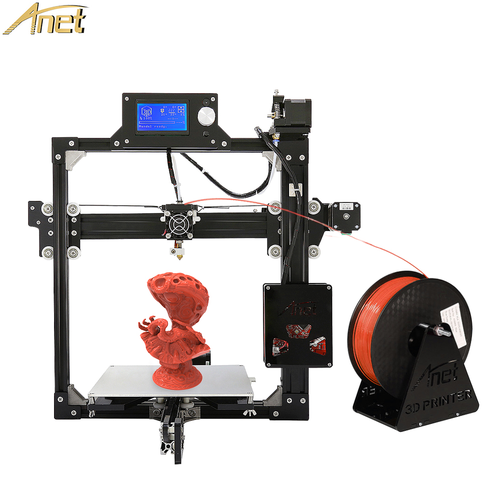Anet A2 3D Printer DIY Prusa i3 Aluminum Metal 3D Printer Kit 220*220*220/220*270*220mm LCD 2004/12864 Option with 10M Filament totême футболка