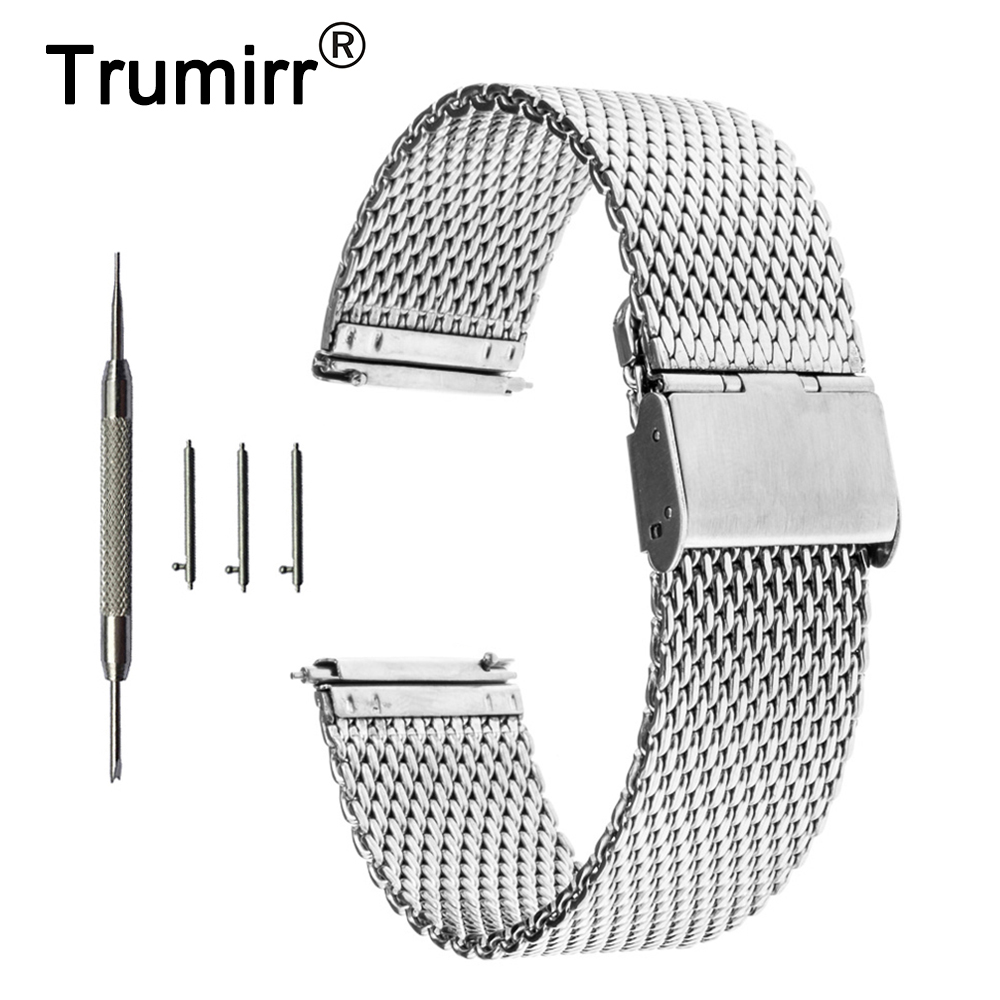 16mm 18mm 20mm 22mm Universal Milanese Armband Schnellverschluss Uhr Band Mesh Edelstahl Bügel-armbanduhr Gürtel Armband Schwarz Ausgezeichnet Im Kisseneffekt