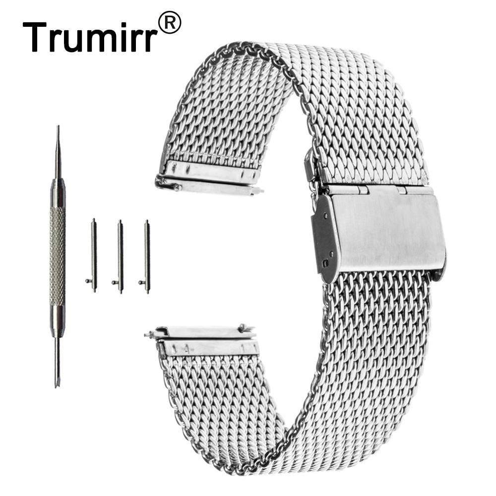 16mm 18mm 20mm 22mm Universal Milanese Watchband Quick Release Watch Band Mesh Stainless Steel Strap Wrist Belt Bracelet Black