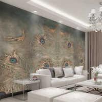 Beibehang Custom Wallpaper Modern Chinese Peacock Feather TV Background 3D Wallpaper Living Room Bedroom Background murals photo