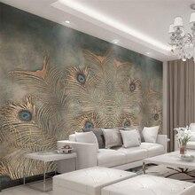 Купить с кэшбэком Beibehang Custom Wallpaper Modern Chinese Peacock Feather TV Background 3D Wallpaper Living Room Bedroom Background murals photo