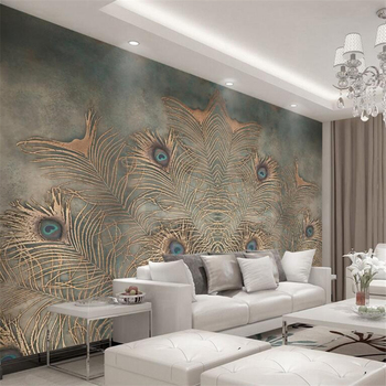 Beibehang Custom Wallpaper Modern Chinese Peacock Feather TV Background 3D Wallpaper Living Room Bedroom Background murals photo