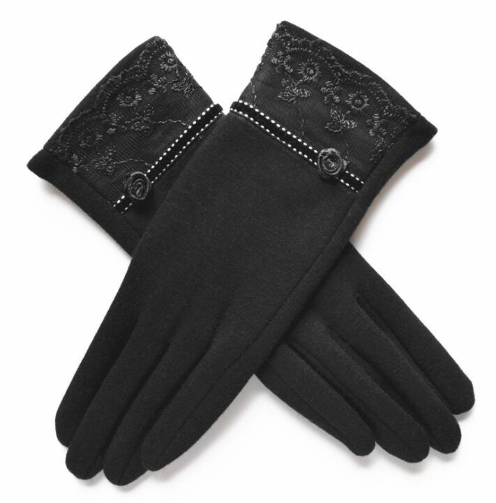 Cashmere Wool Women Gloves Winter Thick Ladies Lace Embroidered Wool Gloves Grey And Green Elegant Soft Mittens Gloves