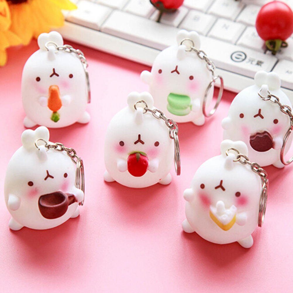 Kawaii Mini Fat Rabbit Pendant Cute Cartoon Otato Bunny Decor  Slow Rising Squishies Key Chain Phone Straps