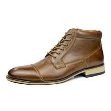 Botas de tobillo para hombre, botas de cuero de vaca genuino, calzado de moda para Primavera/otoño/invierno, zapatos con cordones para hombre, zapatos Vintage de alta calidad