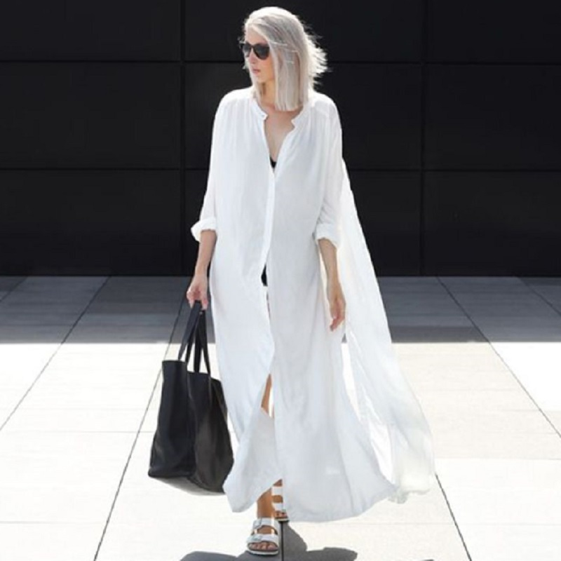 Women Summer Beachwear Long Kaftan Beach Dress White Cotton Tunic Bathing Suit Cover ups Bikini Wrap Cover up in Cover Ups from Sports Entertainment