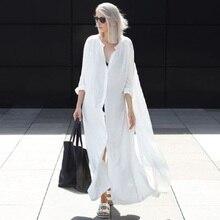 Women Summer Beachwear Long Kaftan Beach Dress White Cotton Tunic Bathing Suit Cover-ups Bikini Wrap Cover up
