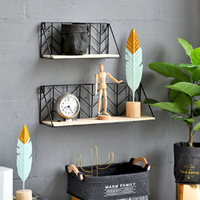 Vintage Multi Function Home Decoration Wall Hanging Wood Iron Storage Shelf Retro Wooden Cabinet Antique Rack