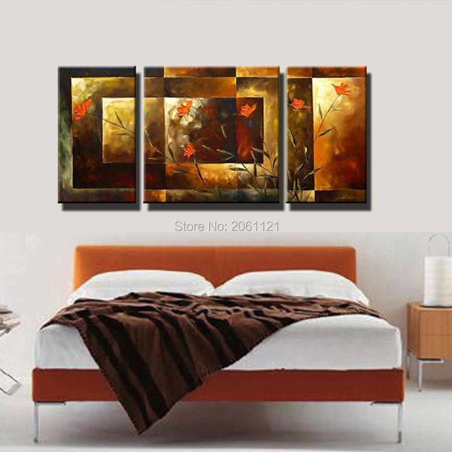 Tangan-dicat ukuran Besar 3 pcs / set abstrak wall art home decor - Dekorasi rumah - Foto 4