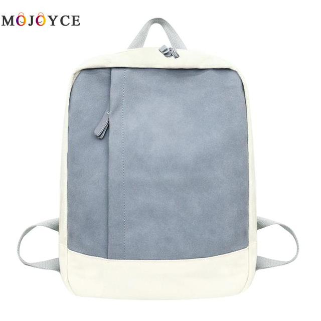20cac6dc3a9 Simple Canvas Women Backpacks Patchwork Color Teenager Girls School Bagpack  Fashion Female Travel Daypack