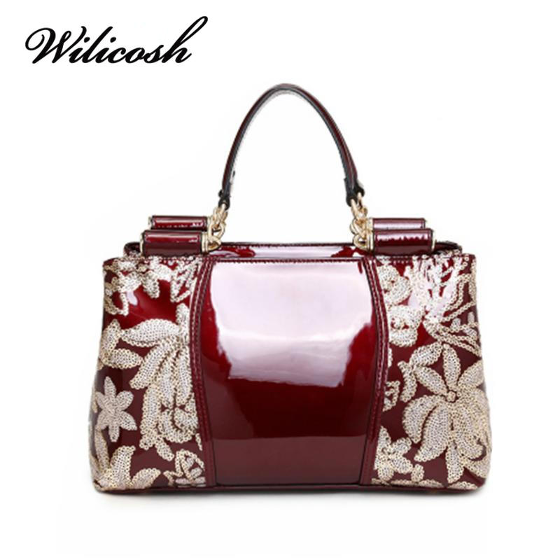 ФОТО Wilicosh Women Messenger Bags Famous Designer Appliques Patchwork Top-Handle Handbags Satchels Shoulder Bag Ladies Bolsa HC222