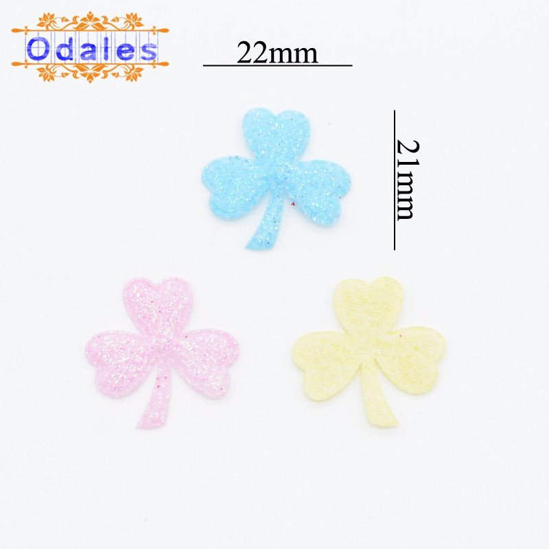 200Pcs Glitter Fabric Clover Leaf Patches Smal Clover Appliques for Card Making DIY Crafts Scrapbooking Accessories Ornament