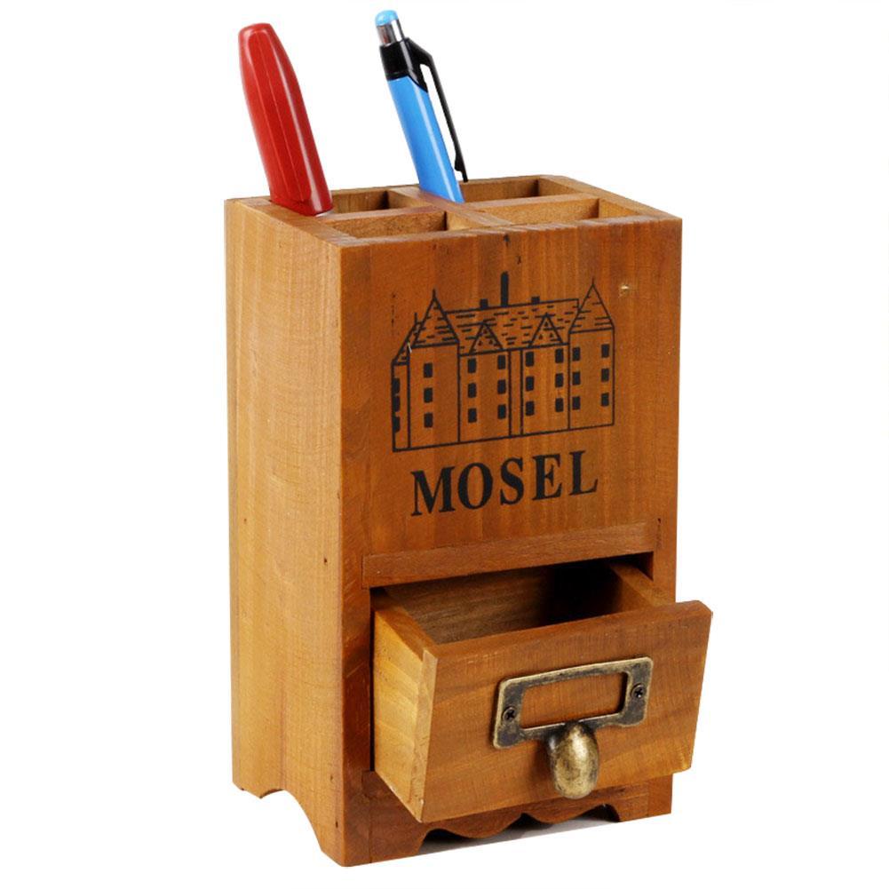 AIBAN Wooden Organizer Storage Box Remote Controller Pen Rule Storage Holder Desk Office Home Organizer Accessories Handmade