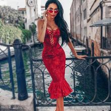 New Top Quality Dress Sexy Strap Red Trumpet Lace Celebrity Low bosow Bodycon Ni