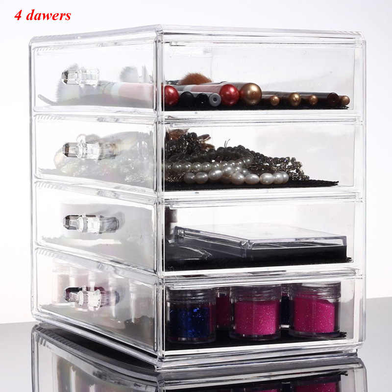 4 Drawers Jewelry Cosmetic Make Up Organizer Holder Box Case Makeup Lipstick Nail Polish Storage New Clear Plastic Acrylic