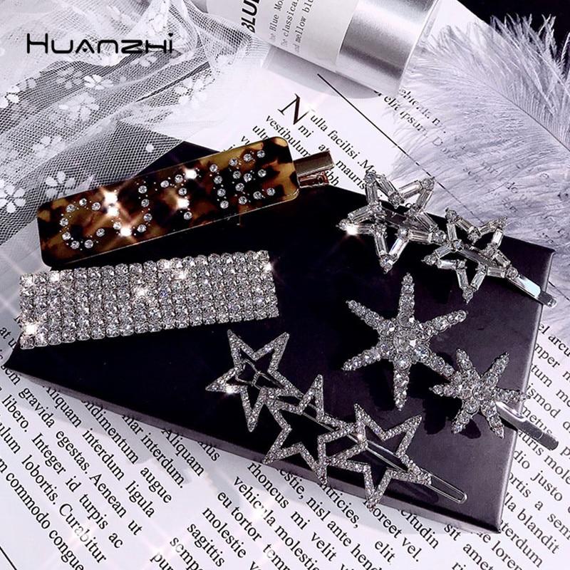 HZ 2019 Shiny Rhinestone Full Crystal Barrettes Star Hair Clip Snowflake Headwear Hair Grip Letter Hair Accessories For Women