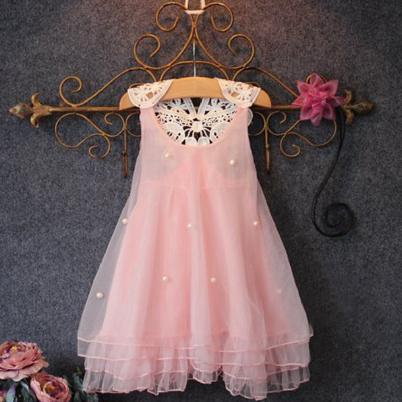 New Children Girl Flower Princess Dress Kids Party Wedding Lace Tulle Tutu Dresses 2-7Y L07 retail baby girls princess wedding party flower sleeveless dress kids girl bow tutu lace tulle girl dresses free shipping l 608