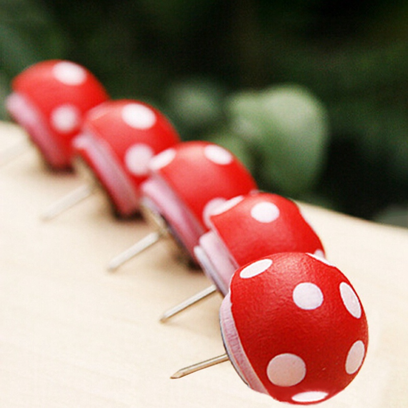Cute Novelty Polka Dots Mushrooms Shape Wooden Pushpin 5 Pcs/set Colored Decorative Tack Cork Nail School Office Supplie Office Binding Supplies