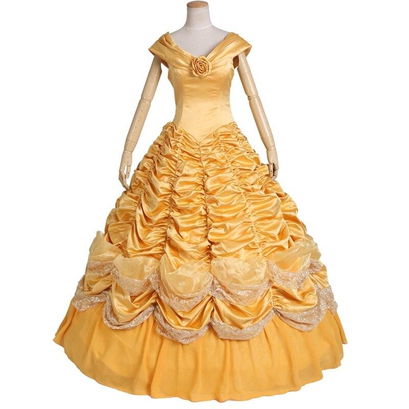 Princesse Belle Costume Adulte Femmes Beauté Et La Bête Costume Pour Halloween Cosplay Robe Custo Fait Toute Taille