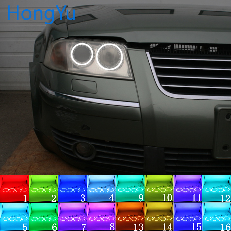 Multi-color RGB LED Angel Eyes Halo Ring Eye DRL RF Remote Control for Volkswagen VW Passat B5.5 3BG 2001 - 2005 Accessories