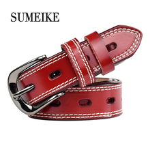 [SUMEIKE] 1.1Width/Pin buckle//Thin/Genuine Leather Fashion Jeans Belts For Women Strap Female Ladies Cummerbunds