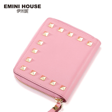 EMINI HOUSE Rivet Genuine Leather Short Wallet Women Wallets And Purses Fold Zipper Card Holder Mini