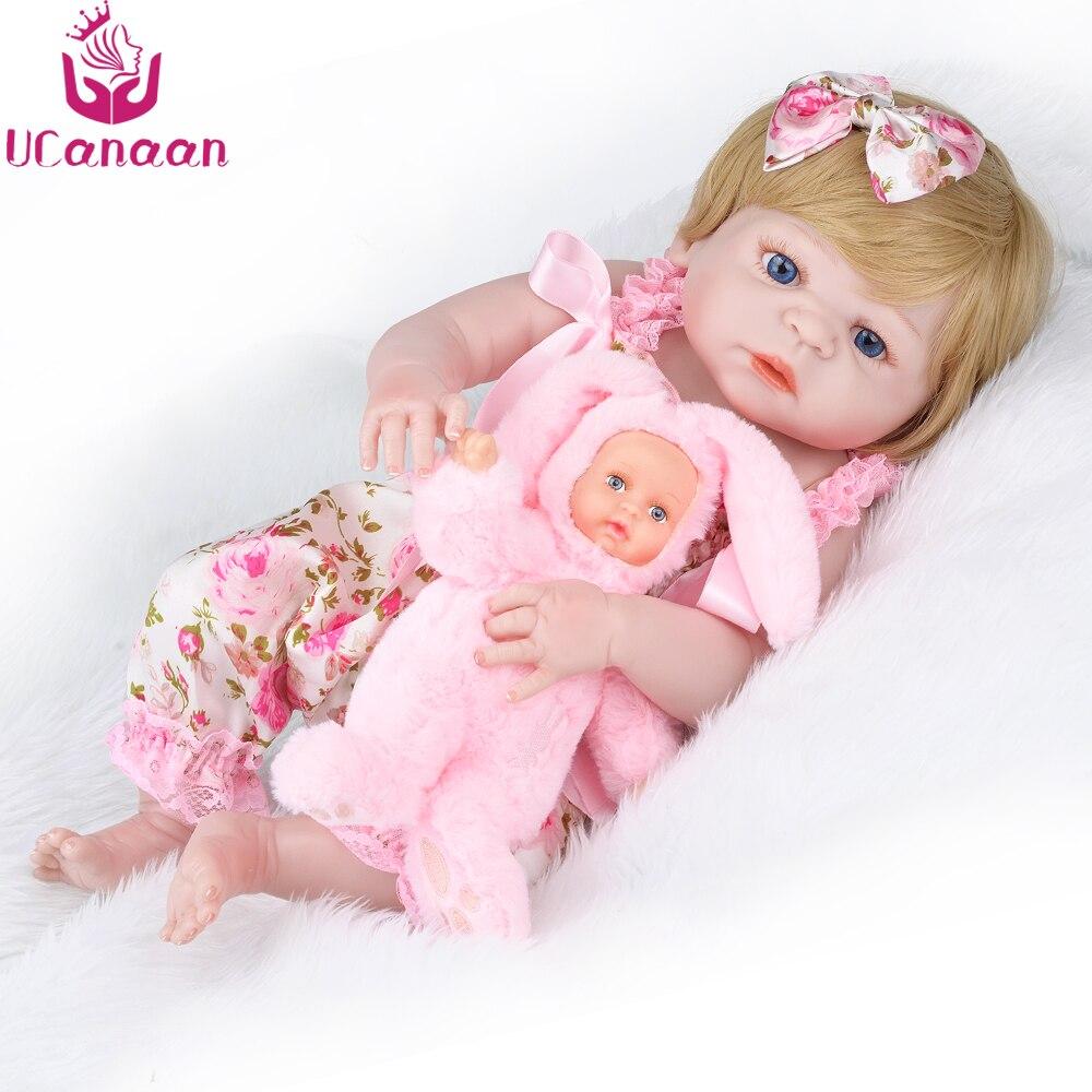 UCanaan 22'' Reborn Baby Doll Blond Hair with Rabbit Plush Toys Alive D  Soft Full Vinyl Body Baby Princess Newborn Babies beanie babies yo gabba gabba plex 35cm plush toys